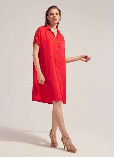 Monamoda Kısa Kol Tensel Gömlek Elbise Kırmızı